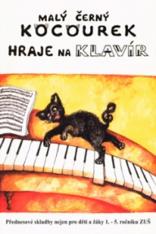 Malý černý kocourek hraje na klavír