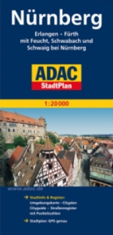 Nürnberg Erlangen Fürth Stadt Plan 1: 20 000