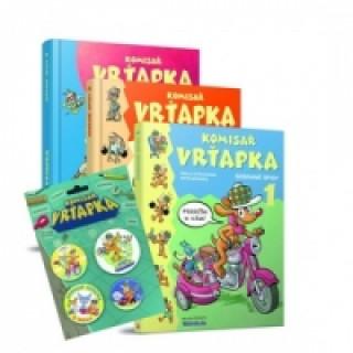 Balíček 4ks Komisař Vrťapka 3knihy +Plaketa s odznáčkami