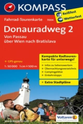 Kompass Fahrrad-Tourenkarte Donauradweg. Tl.2