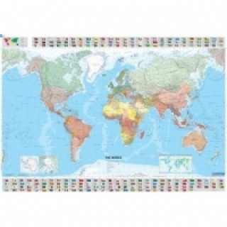 Michelin Karte Die Welt, englische Ausgabe, Plano, plastifiziert, mit Leiste