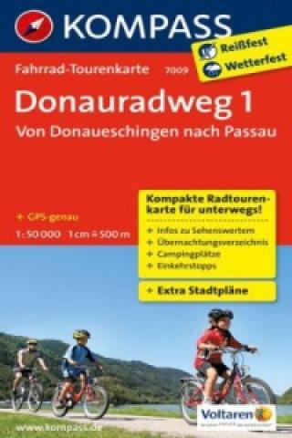 Materiale tipărite Fahrrad-Tourenkarte Donauradweg 1, Von Donaueschingen nach Passau. Tl.1 KOMPASS-Karten GmbH