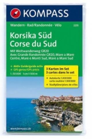 Kompass Karte Korsika Süd, 3 Bl.. Corse du Sud