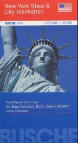 Busche Map New York State & City Manhattan