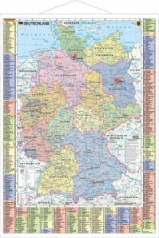 Stiefel Wandkarte Kleinformat Deutschland, politisch und Autokennzeichen, mit Metallstäben