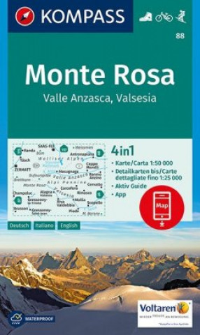 KOMPASS Wanderkarte Monte Rosa, Valle Anzasca, Valsesia