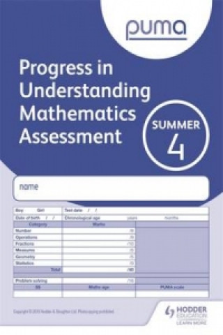 Puma Test 4, Summer Pk10 (Progress in Understanding Mathematics Assessment)