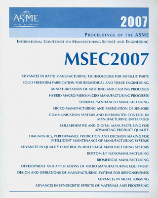 Proceedings of the ASME ASME 2007 International Manufacturing Science and Engineering Conference (MSEC2007)