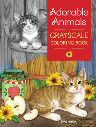 Carte Adorable Animals GrayScale Coloring Book Jane Maday
