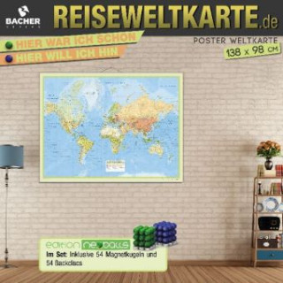 Weltkarte Reiseweltkarte, 1:31 Mio., folienbeschichtet, inkl. Metallbeleistung und Magnetkugeln Neoballs