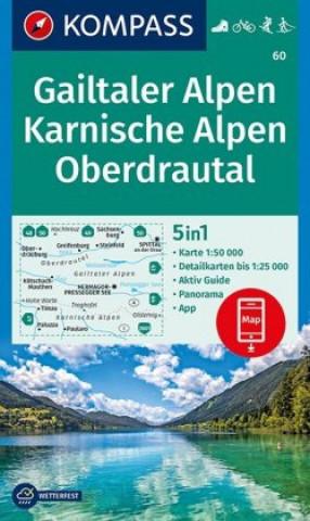 KOMPASS Wanderkarte Gailtaler Alpen, Karnische Alpen, Oberdrautal 1 : 50 000