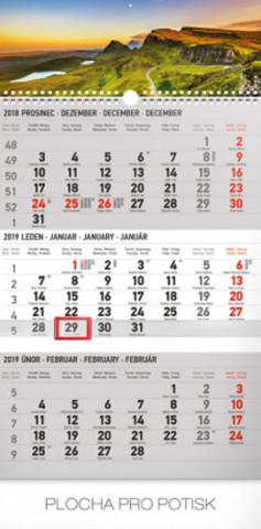 3 měsíční krajina šedý- nástěnný kalendář 2019