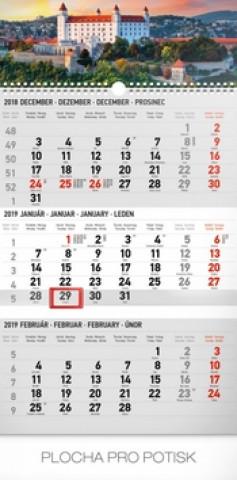 3 mesačný Bratislava - nástenný kalendár 2019