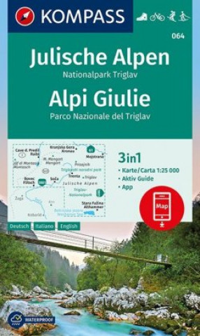 Kompass Karte Julische Alpen, Nationalpark Triglav, Alpi Giulie