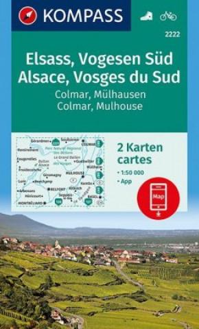KOMPASS Wanderkarte Elsass, Vogesen Süd, Alsace, Vosges du Sud, Colmar, Mülhausen, Mulhouse