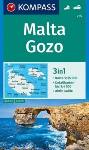 Materiale tipărite MALTA GOZO 235 GPS KOMPASS Kompass-Karten Gmbh