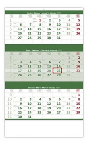 Tříměsíční zelený - nástěnný kalendář 2020